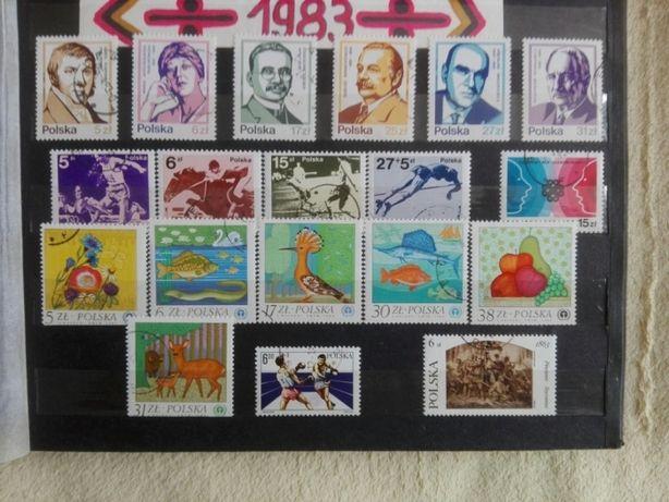 Znaczki pocztowe rocznik 1983, kasowane.