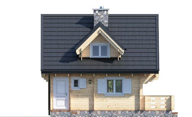 Dom drewniany KRYNICA II 62m2+19m2 taras letniskowy, całoroczny