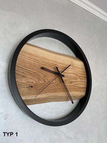 Zegar dębowy, zegar ścienny, loft, industrialny, drewniany, metalowy