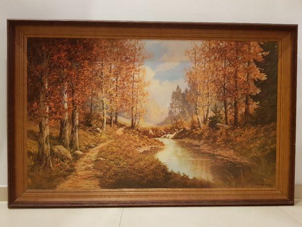 Obraz reprodukcja, jesień leśny strumyk piękna rama sygnowany 110 x 70