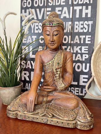 Buda Deusa Estatua Tailandia Antiga Madeira Decoração