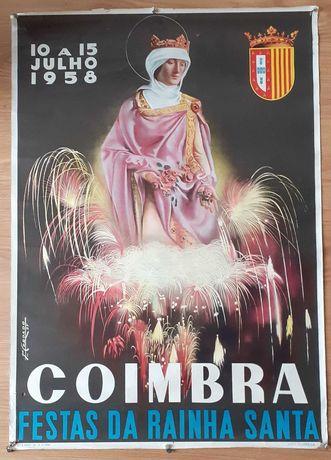 Cartaz antigo [1958] de COIMBRA Festas da Rainha Santa Poster raro