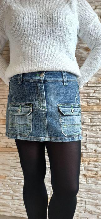 Spódnica spódniczka mini jeans dżinsowa ozdobne kieszonki. Stan idealn Starachowice - image 1