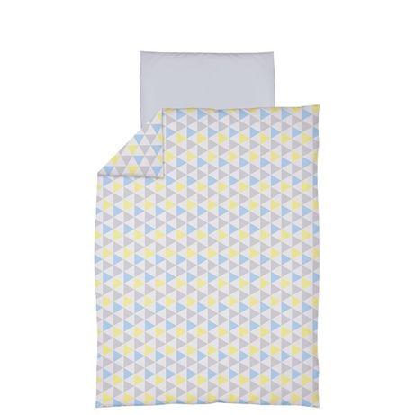 Pościel CEBA, trójkąty niebiesko-żółte