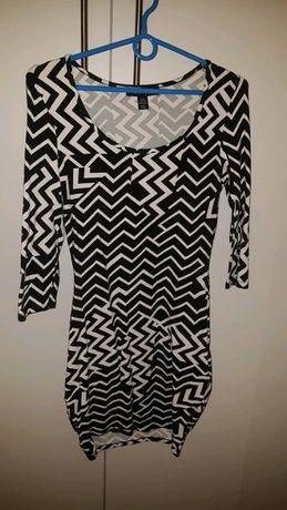 Rozmiar S, wzorzysta elegancka sukienka