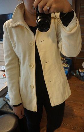 Śliczny jesienny biały/ecru płaszczyk L 40 New Look
