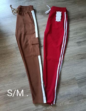 Czerwone dresy brązowe bojówki spodnie dresy S/M