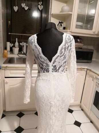 Suknia ślubna suknia maxi biała koronkowa M okazja unikat