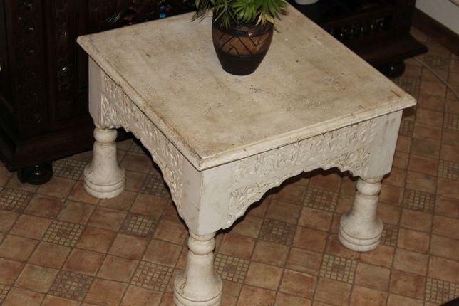 nowy stolik kawowy 61x61, h:46 cm. indyjski kolonialny biel ecru