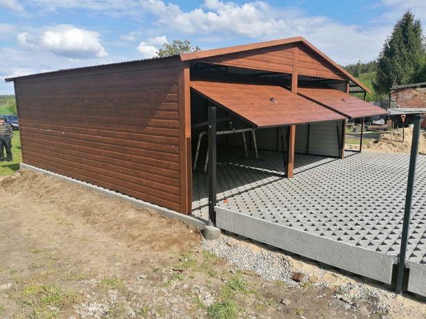 Drewnopodobny garaż blaszany, wiata, blaszak Orzech, Złoty dąb
