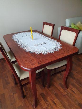 Stół drewniany rozkładany 4 krzesła