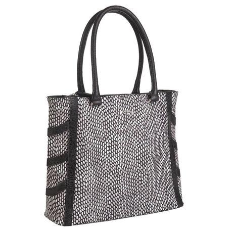 Elegancka skórzana torebka Boca biało - czarna. OKAZJA!