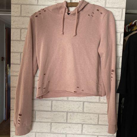 Bluza crop top z dziurami Atmosphere pudrowy róż streetwear vintage