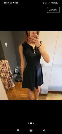 Granatowa Sukienka z zamkiem