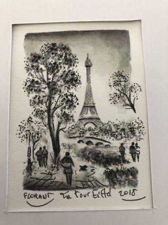 Desenho tour eiffel comprado em Montmartre - realizado p artista local