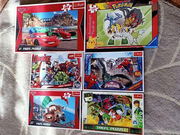 Puzzle zestaw trefl 5+ Cars, Avengers, Spiderman, Ben 100, 200, 260