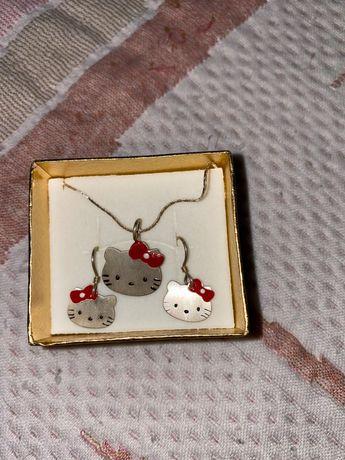 Conjunto kitty em prata