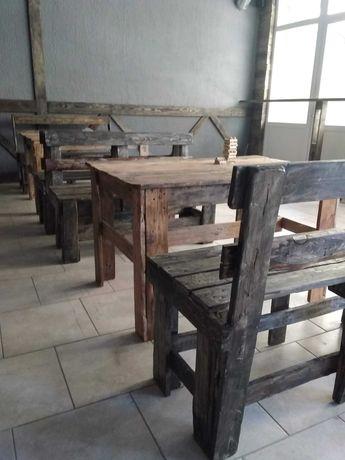 мебель из палет стол с лавкой дерево лофт
