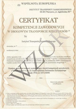Użyczę certyfikat kompetencji zawodowych - przewóz rzeczy