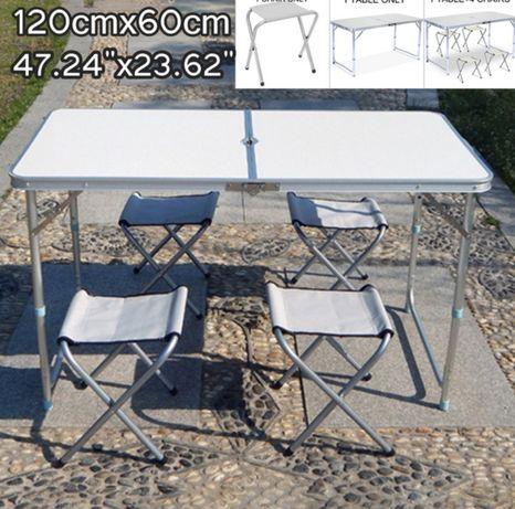 Mesa e cadeiras pack, fácil de transportar, 4 pessoas
