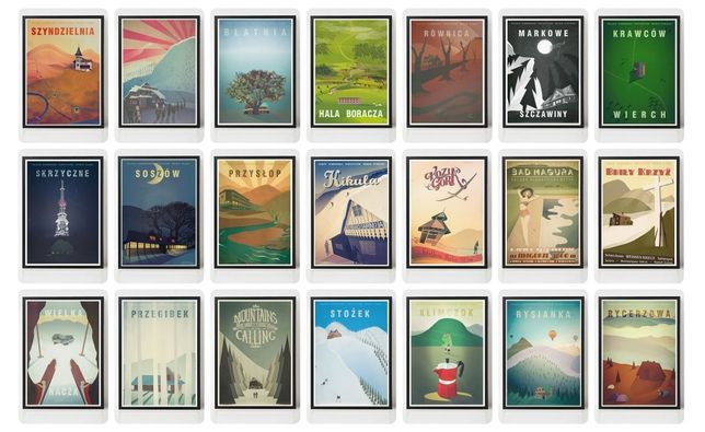 Plakaty Poster-Noster. Góry Beskidy Narty Turystyka Retro Plakat