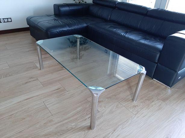 Ława 65x120 szklana, stolik, nowoczesna, design, chrom szk