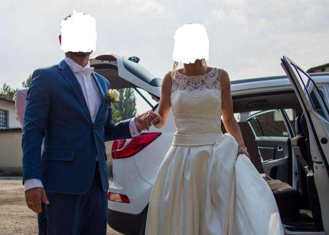 Suknia ślubna ivory,welon i dodatki.
