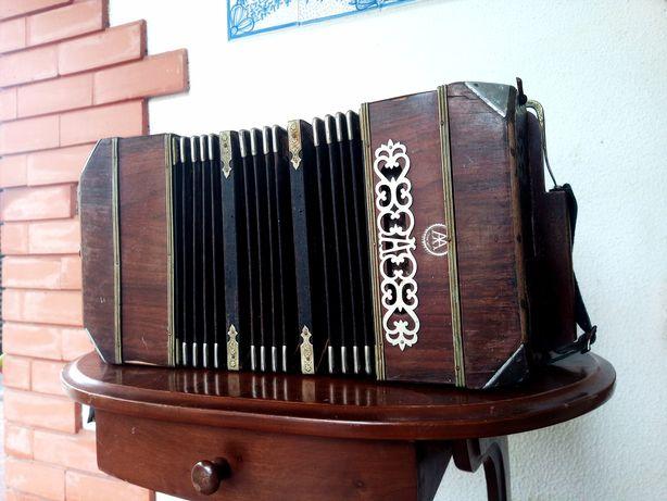 Concertina Bandoneon Antiga em Madeira Alfred Arnold
