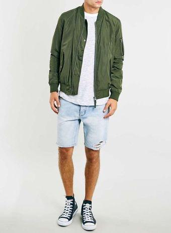 Зеленый бомбер ветровка куртка цвета хаки topman