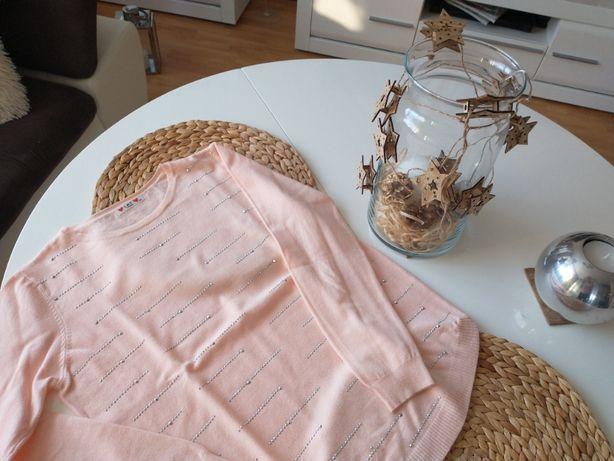Sweter damski- pudrowy róż- L/XL- cekiny