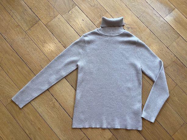 Zara Kids золотая бежевая водолазка гольф свитер с люрексом 11-12