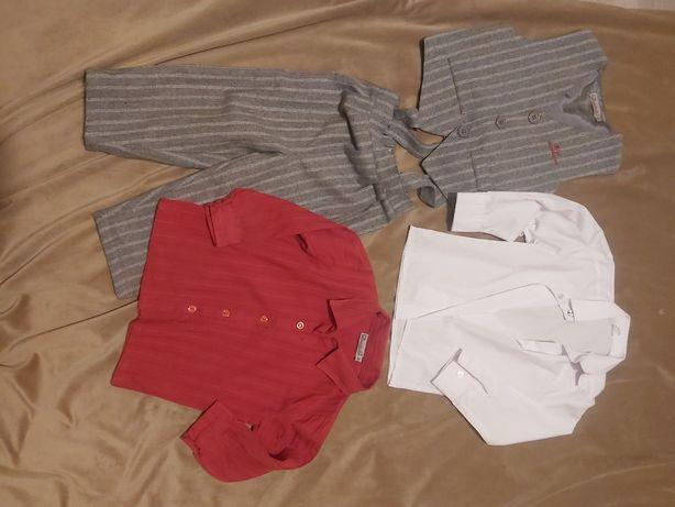 Zestaw dla chłopca 92cm spodnie kamizelka koszula biała i czerwona