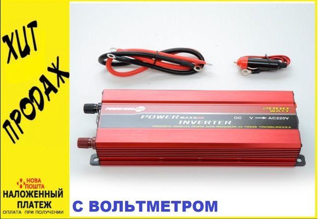 Инвертор 24v - 220v 2000 ватт. Преобразователь тока. Вольтметр