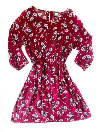 Sukienka burgundowa w kwiaty przed kolano XXL 44