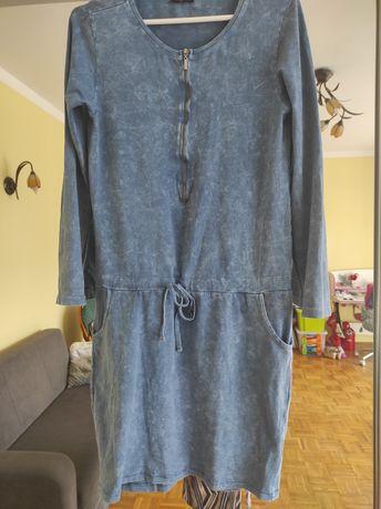 Elastyczna sukienka jeansowa ze strechem na suwak, do karmienia M 38