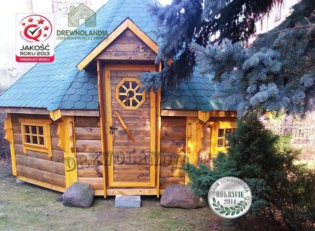 Domek do grillowania altana pół-bal samo drewno świerkowe altanka