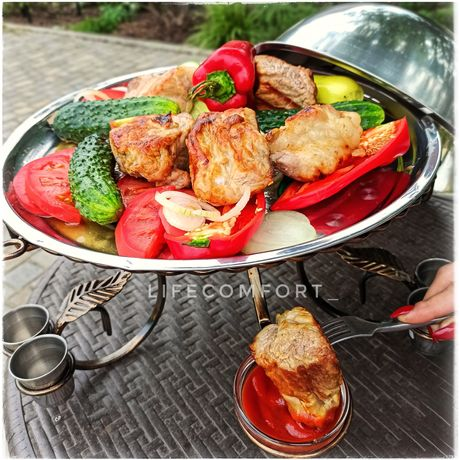 Подставка блюдо садж для подачи и подогрева шашлыка разные модели