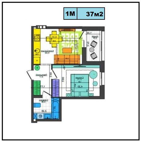 1К квартира с документами, 37м2. , ЖК Файна Таун, Салютная 2