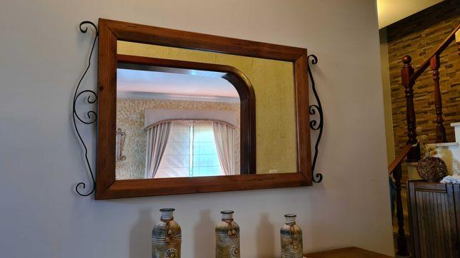 Espelho madeira e ferro forjado