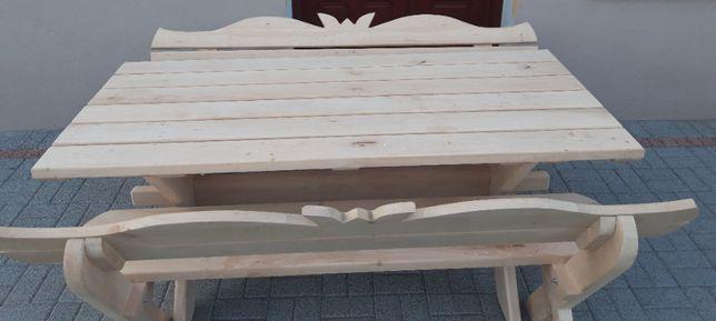 Meble Ogrodowe Olchowe Komplet 2 ławki + stół