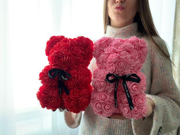 ⫸ДЛЯ НЕЇ•WOW•Мішка із троянд•топ•подарунок•3D•кращий•букет•квіти•25см