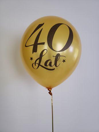 Balon urodzinowy 40 lat metaliczny złoty NAPOMPOWANY HELEM UNOSI SIĘ