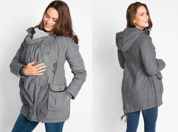 zimowa ocieplana kurtka ciążowa 42 z wkładka niemowlęcą