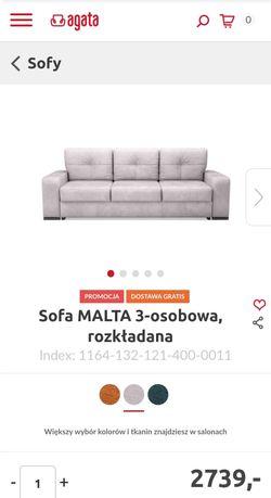 Beżowa kanapa, sofa MALTA 3-osobowa, rozkładana