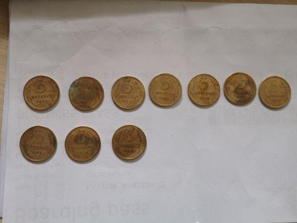 3 копейки 1956 года, монеты СССР, деньги СССР бронзовые деньги ,