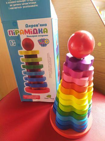 Детская розвивающая игрушка. Деревянная пирамидка.