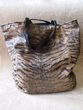 Brązowa torba w zebrę Roberto Cavalli torba shopper bag mieści A4 duża
