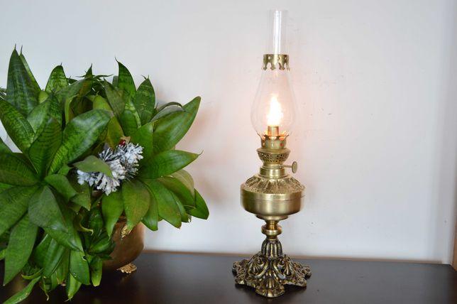 śliczna LAMPA NAFTOWA żeliwo mosiądz