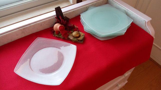 Serviço 8 Pratos Quadrados Vidro Texturado Coz.Gourmet Exótica Festiva