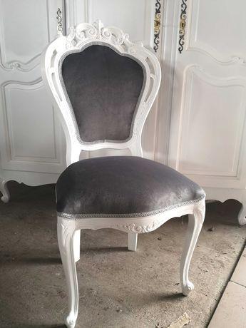 Przepiękne stylowe białe krzesło do salonu łazienki toaletki CUDO